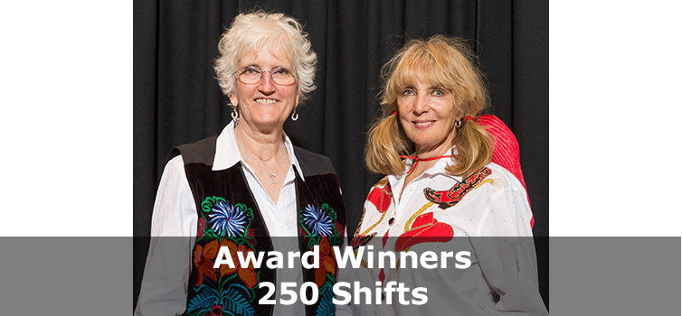 Volunteer Award winners 250 shifts
