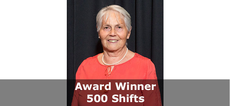 Volunteer Award winner 500 shifts